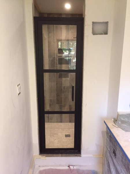 Single Coastal door with square handle Black Bronze - Clear glass