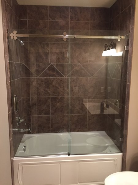 Serenity Bypass Heavy Glass Shower Door on Tub Chrome