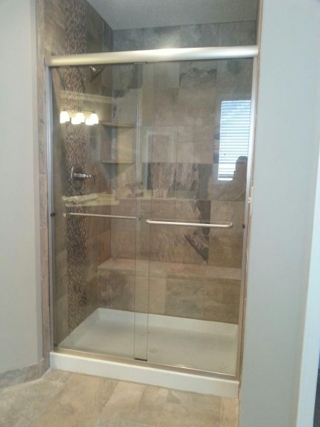 Semiframeless Euro Sliding Brushed Nickel-Clear with 2 towel bars..
