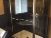 Semiframeless Euro Sliding with 90 degree Panel Brushed Nickel Clear 2 towel bars