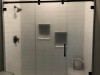 Serenity Bypass Heavy Glass Shower door Panel Door Panel Matt Black - Bubbles glass