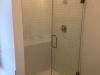 Frameless Heavy Glass Door & Panel Brushed Nickel - Clear Glass. Panel installed with top clamp. C Handle