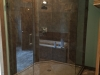 Frameless Heavy Glass Neo Angle shower Installed with channel & Clamps