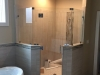 Frameless Heavy Glass Neo Angle Shower with no header, 3 hinges