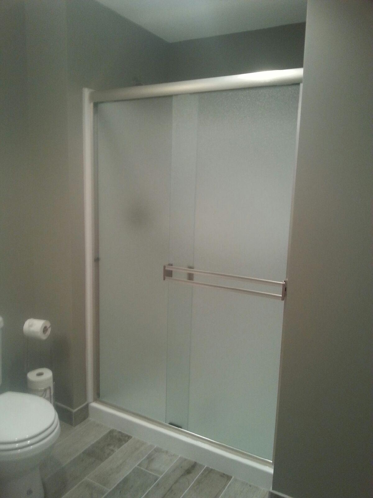 Semiframeless Standard Brushed Nickel-Rain bypass shower door