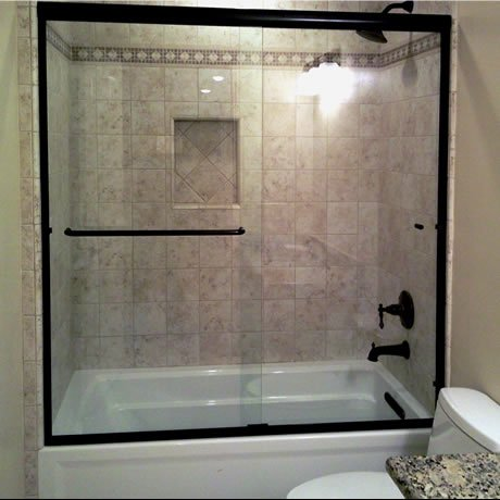 euro sliding shower door on tub oil rub bronze clear with 1 towel bar