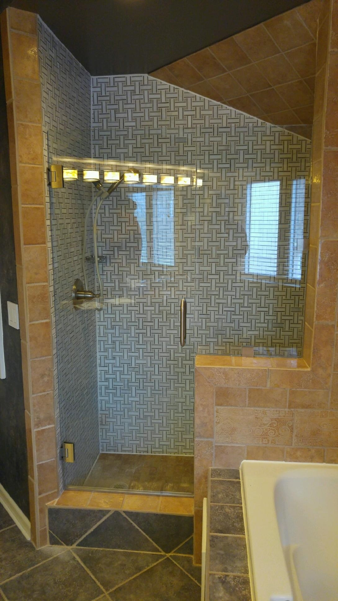 Heavy glass Shower Door Panel BN - clear panel installed with 2 clamps