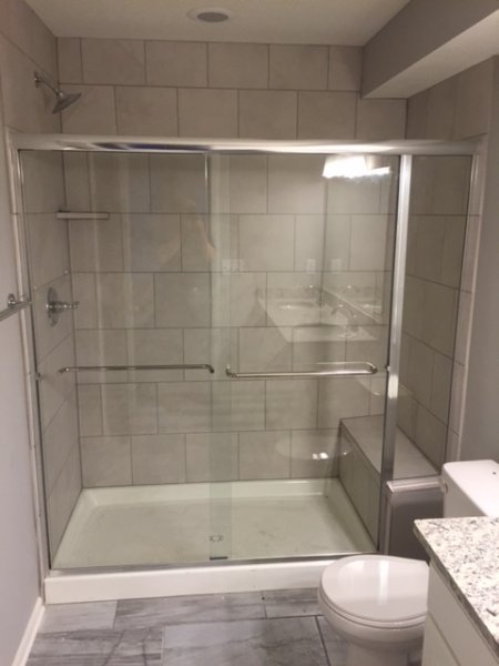 Semiframeless Euro Sliding Chrome Clear with inline panel and 2 towel bars