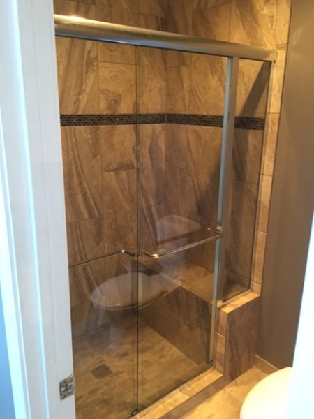 Semiframeless Euro Sliding with inline panel Brushed Nickel Clear 2 towel bars
