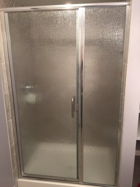 Semiframeless Euro door & Panel Chrome with Rain glass