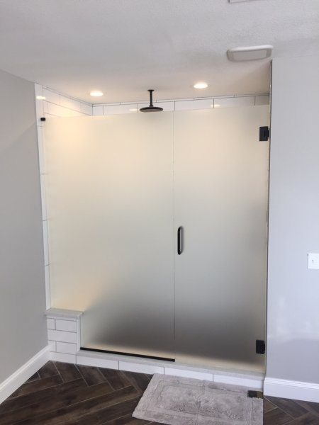 Frameless Heavy glass Door & notched Panel Oil Rub bronze - Satin Glass using channel at bottom and top clamp