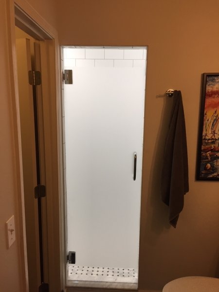Frameless Heavy Glass Single Door with Sandblasted stripe. Brushed Nickel
