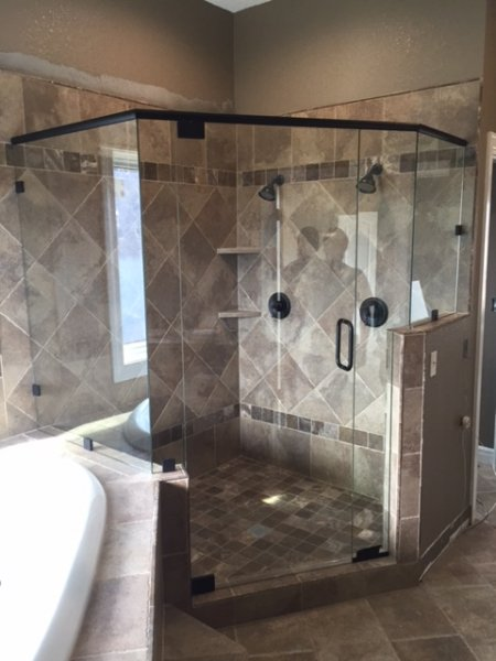 Frameless Heavy glass Neo Angle Shower with header , pivot door Oil Rub Bronze panels with clamps