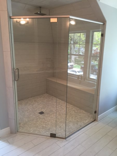 Frameless Heavy glass door & Panel with 45 degree panel Bn-Clear with header