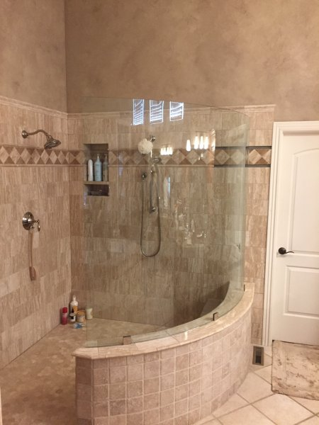Frameless Bent heavy Glass Shower Panel