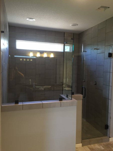 Frameless Heavy Glass Door & Panel with 2 additional panels Oil Rub Bronze Clear with clamps and top clamps