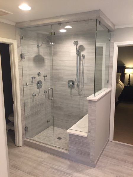 Frameless Heavy Glass Door & Panel with 90 degree Panel to ceiling and operating transom