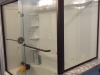 Semiframeless Euro Sliding door with 90 degree panel Oil Rub Bronze - Clear 2 towel bars