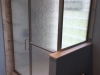 Semiframeless Euro Door & Panel with 90 degree panel Brushed Nickel-Rain with towel bar