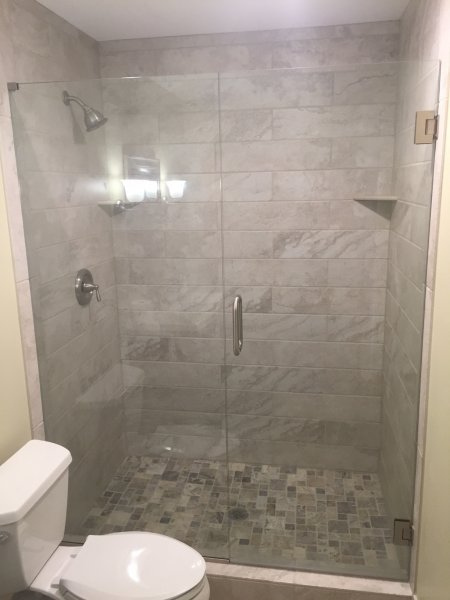 Heavy Glass Shower Door Panel Brushed Nickel Clear Panel installed with  channel u0026 top clamp